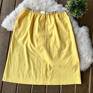 """Vintage Yellow A line skirt with """"rainbow"""" belt"""